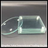 Decorative Clear Tempered Glass Coaster / Wedding Glass Coaster