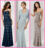 Blue Brown Lace Mother′s Gowns Sheath Long Mother of Bride Evening Dresses Ml7117