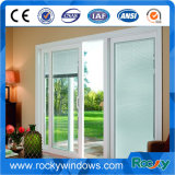 French Double Panel Aluminum Sliding Window with Build in Blind