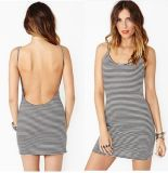 Knitted Backless Black and White Cotton Stripe Women′s Dress