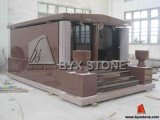 Red Granite Cremation Family Mausoleums for Cemetery (BYX-GM-001)