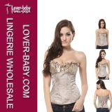 Plus Size New Beige Boned Lace up Back Bustier Sexy Corset Set (L4081)
