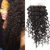4X4 Virgin Brazilian Kinky Curly Lace Closure Middle Part with Baby Hair Human Hair Top Closures Bleached Knots Free Shipping