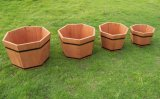Four Size Brown Chinese Fir Heptagon Planter Flower Pot