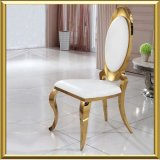 2017 Luxury Modern Rental Event Wedding Furniture Golden Oval Back PU Leather Metal Stainless Steel Banquet Dining Chair
