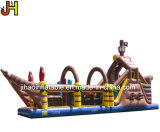 Giant Inflatable Obstacle Course Inflatable Pirate Ship Bouncer Combo