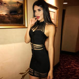 Ladies Dress Black Halter Dress Bandage Dress Stock Dress