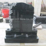 UK Style Black Granite Headstones with Roses Carving