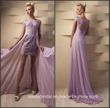 Lavender Prom Gowns Mini Lace Chiffon Cocktail Evening Dresses Z808