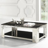Marble Top Stainless Steel Frame Coffee Table with Flower Printing