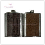 8 Ounce Liquor/Whisky Flask, Leather Covered Stainless Steel Hip Flask
