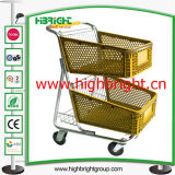 Double Basket Plastic Shopping Cart for Hyper Market
