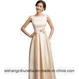 Sexy Satin Apricot Elegant Long Formal Evening Dresses