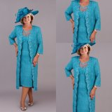 3/4 Sleeves Mother of The Bride Dress Teal Blue Lace Evening Dress B3