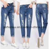 2016 Female Loose & Straight Cotton Hole Jeans