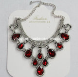 Lady Fashion Jewelry Red Waterdrop Glass Crystal Pendant Necklace (JE0211)