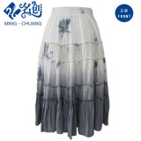 Gray&White Slimmering-Waist Peated Soft Cotton Straight Long Skirt