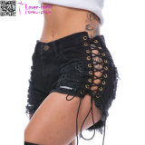Side Lace-up Broken Holes Black Shorts Pants L547