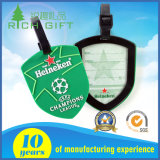 Soft PVC Luggage Tag with Shield Shape and Green Color