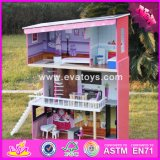 2017 Wholesale Wooden Dollhouse for Girls, New Model Wooden Dollhouse for Girls, Best Wooden Dollhouse for Girls W06A151