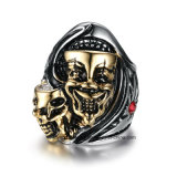Exaggerate Men′s Steel Skull Ring Two Faces