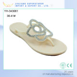 Latest PVC Women Sandal with Fashion Flower Upper and Rhinestone Decoration