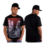 100% Cotton Woven Black Men Print T-Shirts