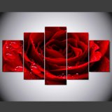 5 Pieces/Set Printed Red Love Rose Poster Painting Wall Art Room Decor Printed Canvas Painting Mc-160