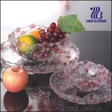 Colorful Glass Bowl with Plate Set with Flower Design (GB1616MH/PDS)