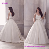 V Neckline Sleeveless Ball Gown Wedding Dress with Waistband
