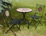 3PC Nice Black Superior Fashion Round Metal Foldable Mosaic Modern Furniture with Table and Chair