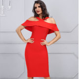 Ladies Party Dress with Sleeveless Red Dress