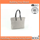 New Trend Custom Durable Canvas Tote Bag Leather Handle (BDY-1710082)