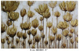 Handmade Canvas Gold Flower Oil Painting