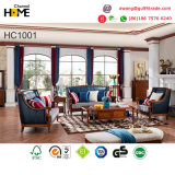 Antique Design Amercian Style Living Room Leather Sofa Set for Home Furniture (AD1001)
