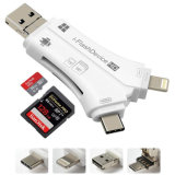 4 in 1 SD Card Adapter Memory Card Reader with Micro USB/ Type C/ Lightning/ USB Connector for iPhone, iPad, Mac, Android, Trail and Game Camera V