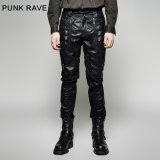 K-266 Punk Men Winter Black Sexy Tight Leather Pants