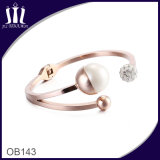 18CT Rose Gold Open Hinged Cuff with Faux White Pearl and Pave Set Cz′s