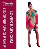 African Dashiki Bodycon Short Printed Dress for Girls (L28062)
