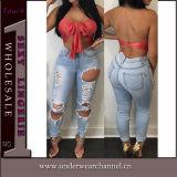 New Style Wholesale Women Destroyed High Waist Denim Jeans (TXXL287)