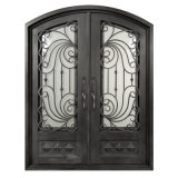 Custom Elegant Eyebrow Top Wrought Iron Entry Double Door