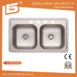 Cupc Sink Above Counter Double Bowls Kitchen Sink (Ktd3319)