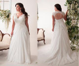 Wholesale Price Lace Straps Chiffon Sleeveless Plus Size Wedding Dress