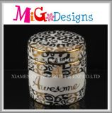 Wedding Gift Decorative Jewelry Ceramic Golden Ring Box