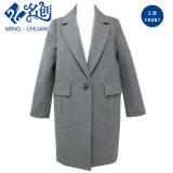 Gray Button Long-Sleeve Turn-Down Collar Pockets Fashion Ladies Coat