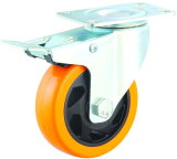 3-5 Inch Orange PVC Industrial Castor Wheels with Brake