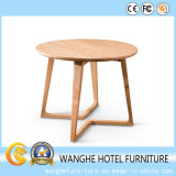 Modern Clear Solid Oak Wood Round Coffee Table Made in China