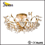 Hot Sales Wrought Iron 5 Lights Ceramic Flower Decorative Ceiling Lamp with UL