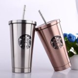 New Developed 16oz Double Wall Smooth Surface Office Coffee Tumbler Mug with Straw Set (SH-SC04)
