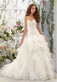 Luxury Ivory Pleat Ruffle Sweetheart Corset Organza Flounce Wedding Gown